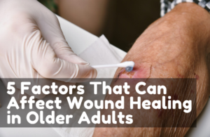 Wound dressing, Doctor applying medicine to infected wound in chronic diabetes senior patient, Accidental wound care treatment in elderly old man.